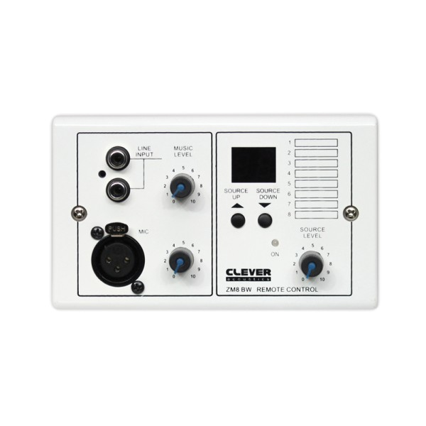 Clever Acoustics ZM8 BW Wall Plate - Audio Input + Source Select