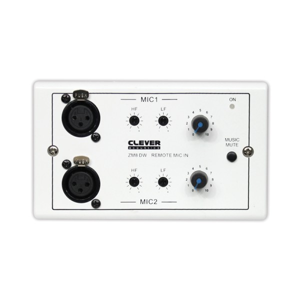 Clever Acoustics ZM8 DW Wall Plate - Two Remote Microphone Inputs
