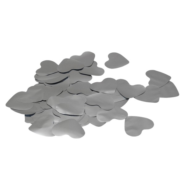 Equinox Loose Confetti Hearts 55mm Metallic Silver 1kg