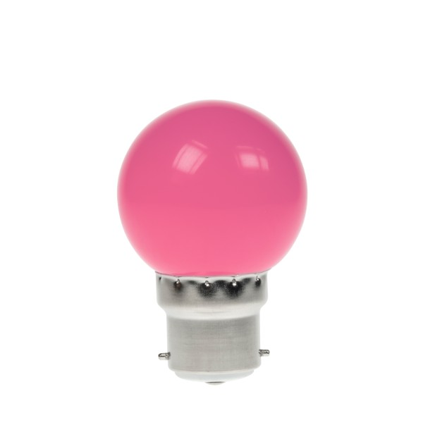 Prolite 1W LED Polycarbonate Golf Ball Lamp, BC Pink