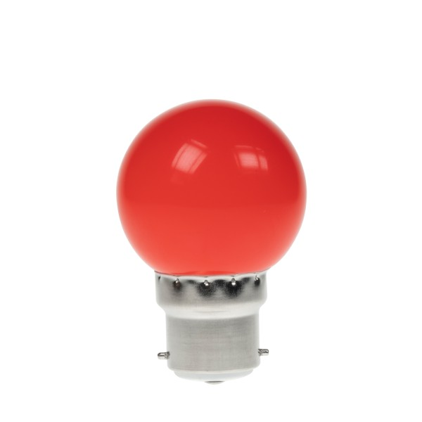 Prolite 1W LED Polycarbonate Golf Ball Lamp, BC Red