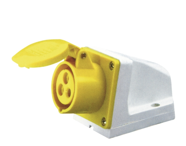 Yellow 16A C Form 3 Contact High Current Angled Outlet Wall Mount