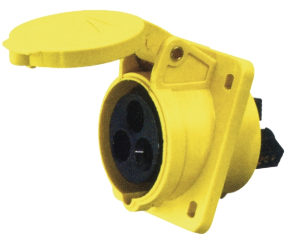 Yellow 16A C Form 3 Contact High Current Angled Outlet Panel Mount
