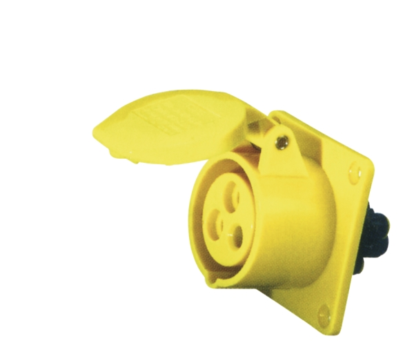 Yellow 16A C Form 3 Contact High Current Straight Outlet Panel Mount