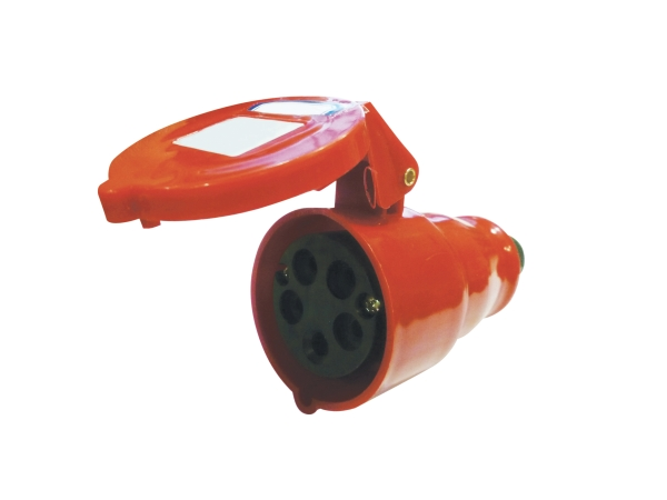 Red 16A C Form 5 Contact High Current In-line Socket