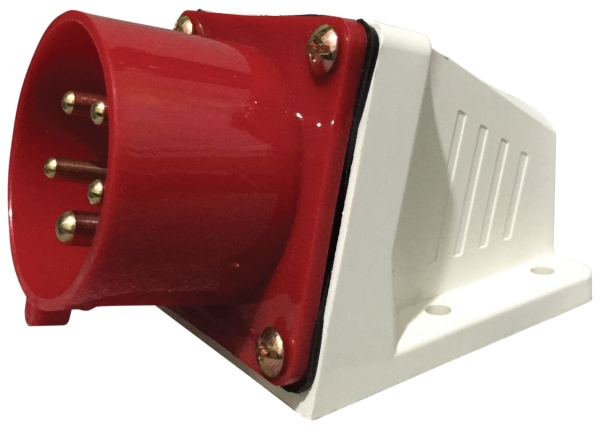 Red 16A C Form 5 Contact High Current Angled Inlet Wall Mount