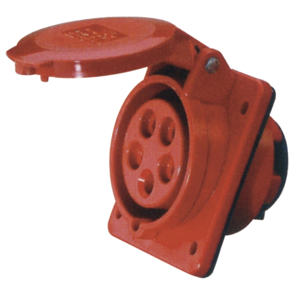 Red 16A C Form 5 Contact High Current Angled Outlet Panel Mount