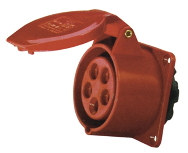 Red 16A C Form 5 Contact High Current Straight Outlet Panel Mount