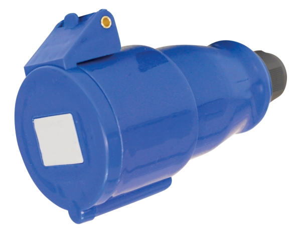 Blue 32A C Form 3 Contact High Current In-line Socket