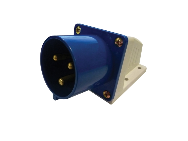 Blue 32A C Form 3 Contact High Current Angled Inlet Wall Mount