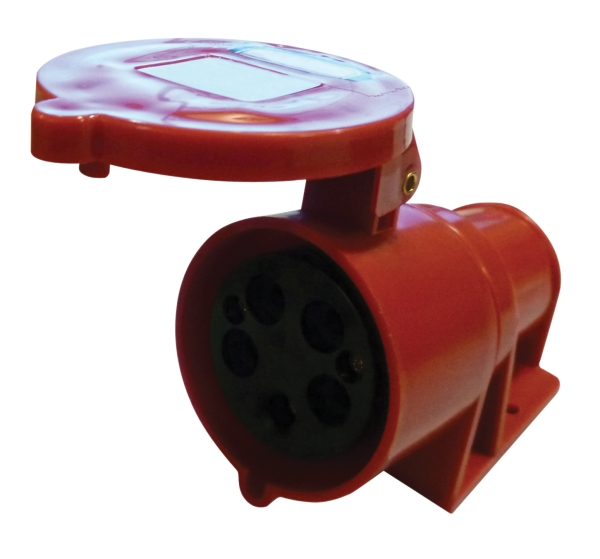 Red 32A C Form 5 Contact High Current Angled Outlet Wall Mount