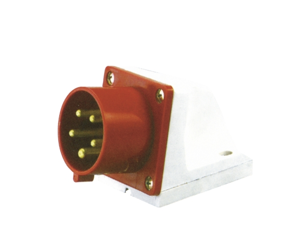 Red 32A C Form 5 Contact High Current Angled Inlet Wall Mount