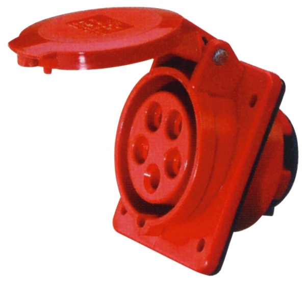 Red 32A C Form 5 Contact High Current Angled Outlet Panel Mount