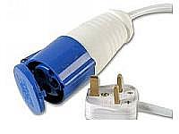 Blue 16A C Form 240V Socket 2P+E to 13A Plug with a 250mm Lead