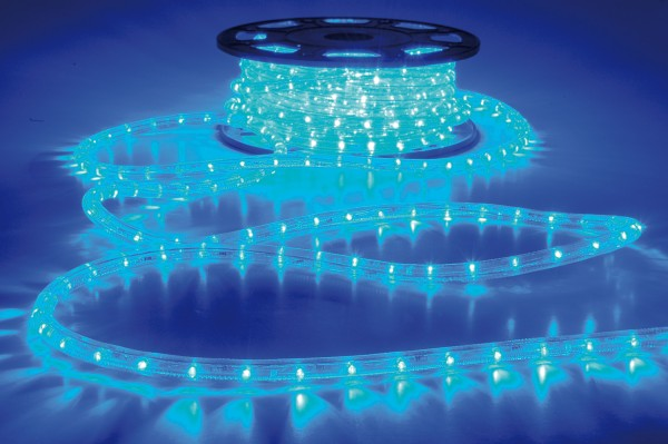 QTX Blue LED Rope Light, IP44, 50 metre reel
