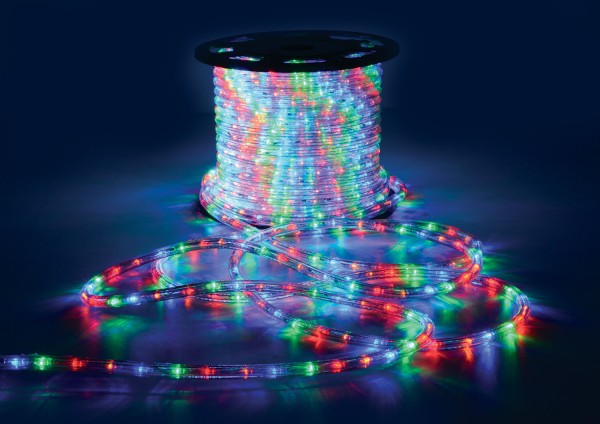 QTX Multicolour LED Rope Light, IP44, 50 metre reel