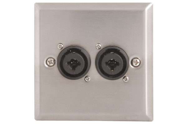 av:link Steel Wall Plate with Double Female XLR/Jack Combo Connectors
