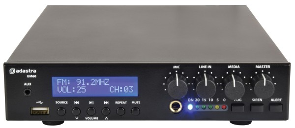 Adastra UM60 Compact Mixer-Amplifier, 60W @ 8 Ohms or 100V Line