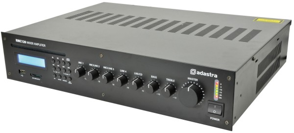 Adastra RMC120 Mixer-Amplifier, 120W @ 8 Ohm or 100V Line with CD, USB, SD Card and FM Audio Player