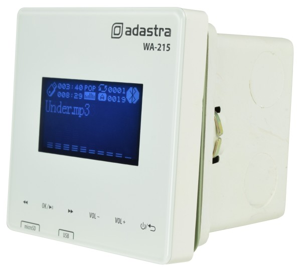 Adastra WA-215 Wall Mount Amplifier, 2x 15W @ 8 Ohms with USB & microSD Media Player with Bluetooth
