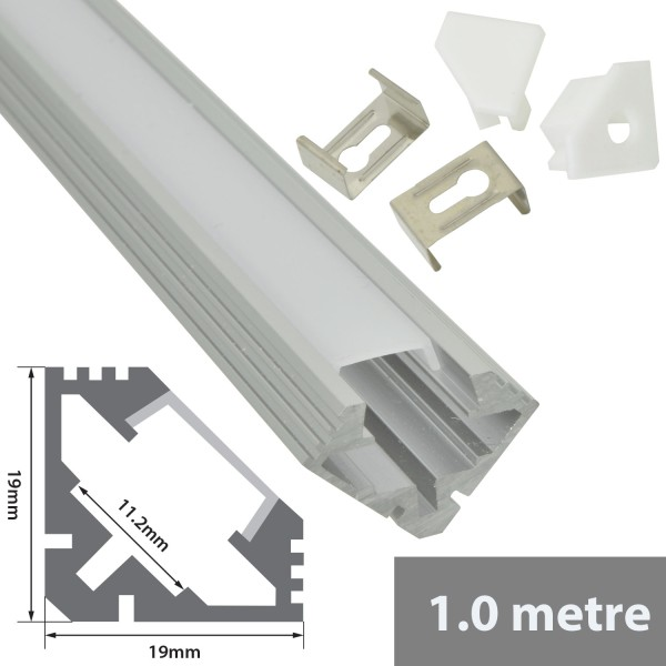 Fluxia AL1-A1919 Aluminium LED Tape Profile, 1 metre with Frosted 45 Degree Angled Diffuser