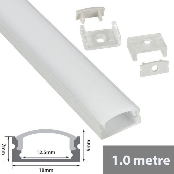 Fluxia AL1-C1709 Aluminium LED Tape Profile, Short 1 metre with Frosted Crown Diffuser