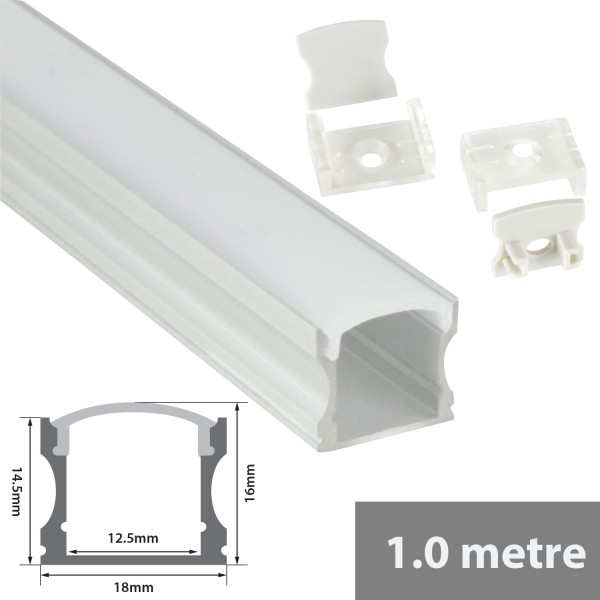 Fluxia AL1-C1714 Aluminium LED Tape Profile, Tall 1 metre with Frosted Crown Diffuser