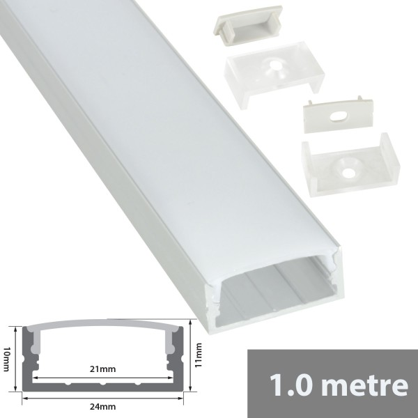 Fluxia AL1-C2311 Aluminium LED Tape Profile, Wide, 1 metre with Frosted Crown Diffuser