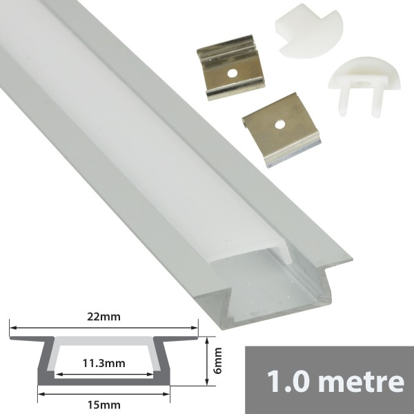 Fluxia AL1-F2206 Aluminium LED Tape Profile, Recess 1 metre with Frosted Diffuser