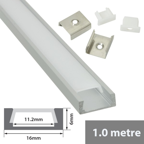 Fluxia AL1-S1606 Aluminium LED Tape Profile, 1 metre Shallow Section with Frosted Diffuser