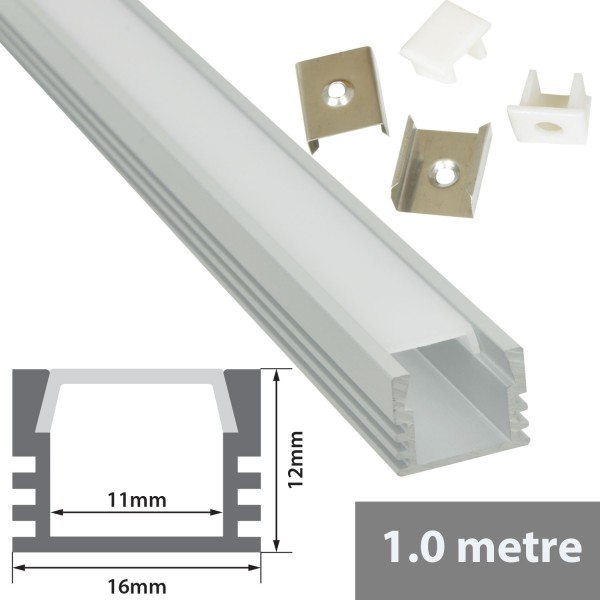 Fluxia AL1-S1612 Aluminium LED Tape Profile, 1 metre Deep Section with Frosted Diffuser