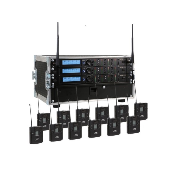 JTS 12 Way R-4 Rack System with 12 R-4TBM Beltpack Transmitters - Channel 38