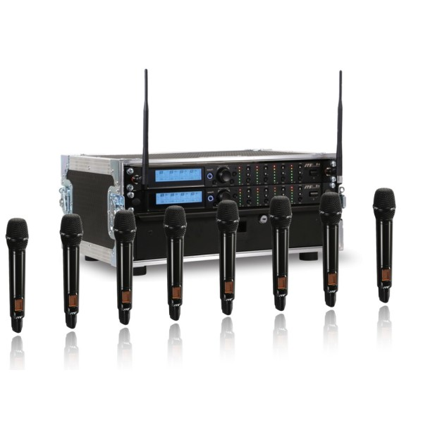 JTS 8 Way R-4 Rack System with 8 JSS-4B Handheld Transmitters - Channel 38