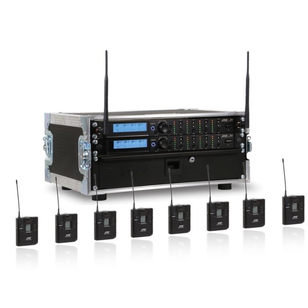 JTS 8 Way R-4 Rack System with 8 R-4TBM Beltpack Transmitters - Channel 38