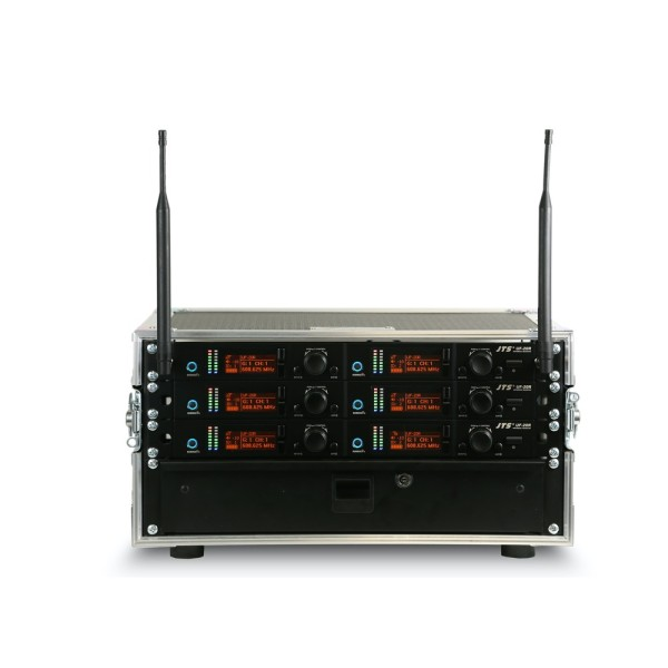 JTS 6 Way UF-20R Rack system with 6 UF-20TB Beltpack Transmitters - Channel 38