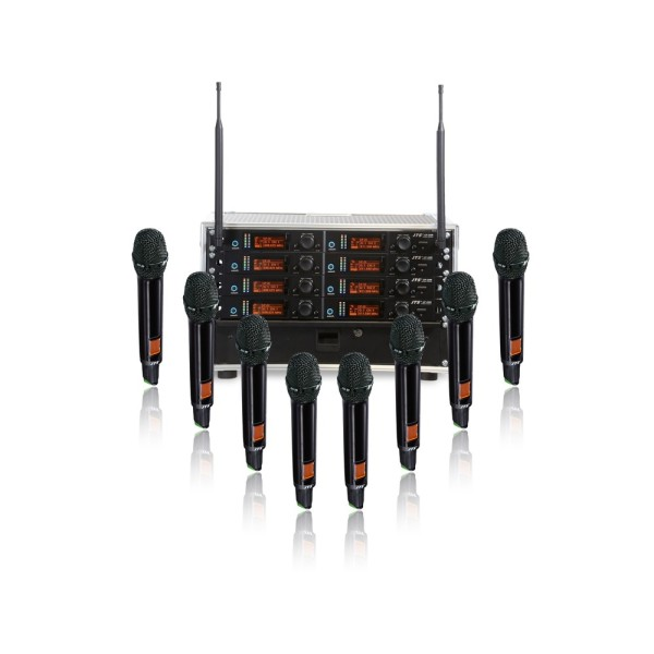 JTS 8 Way UF-20R Rack System with 8 JSS-20 Handheld Transmitters - Channel 38