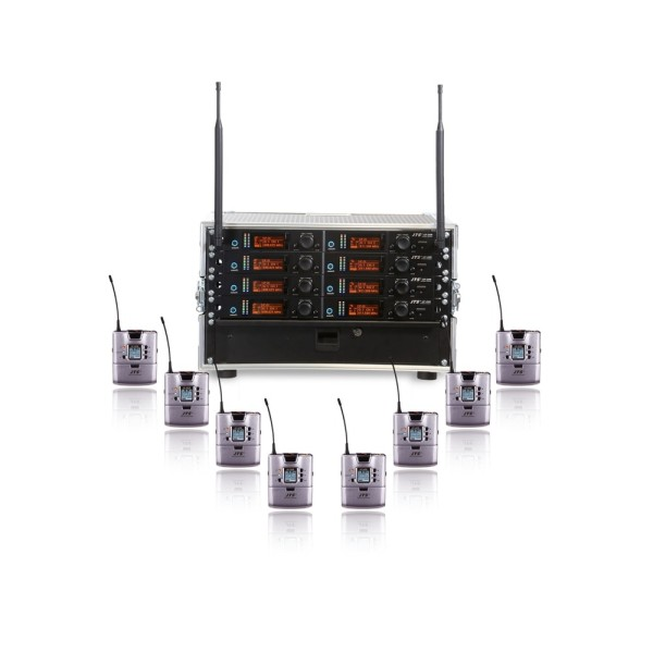 JTS 8 Way UF-20R Rack System with 8 UF-20TB Beltpack Transmitters - Channel 38