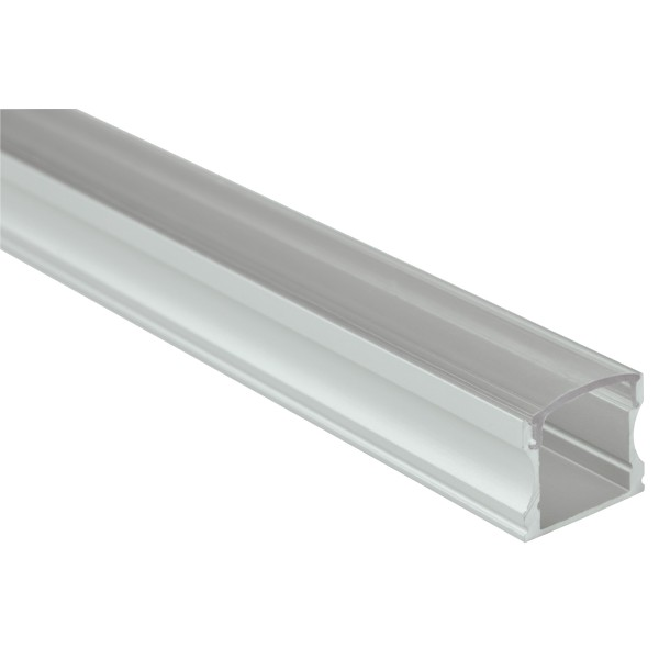 Fluxia AL1-C1714C Aluminium LED Tape Profile, Tall 1 metre with Clear Crown Diffuser